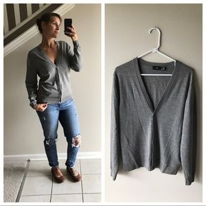 H&M Light Weight Button Down Cardigan Small Gray